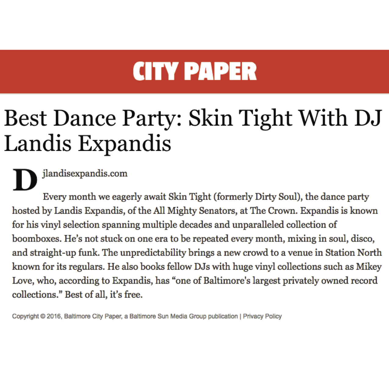 City Paper best party