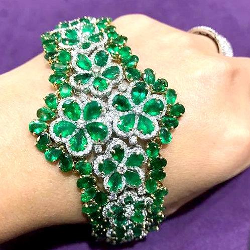 Floral Design Emerald Bracelet