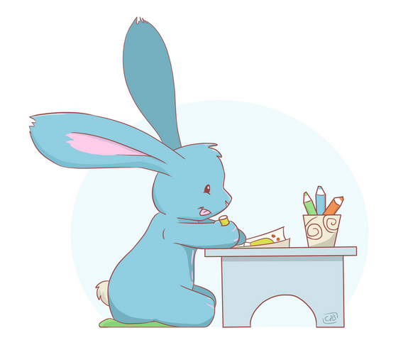 Illustratie_ Wabbit konijn aan het kleur
