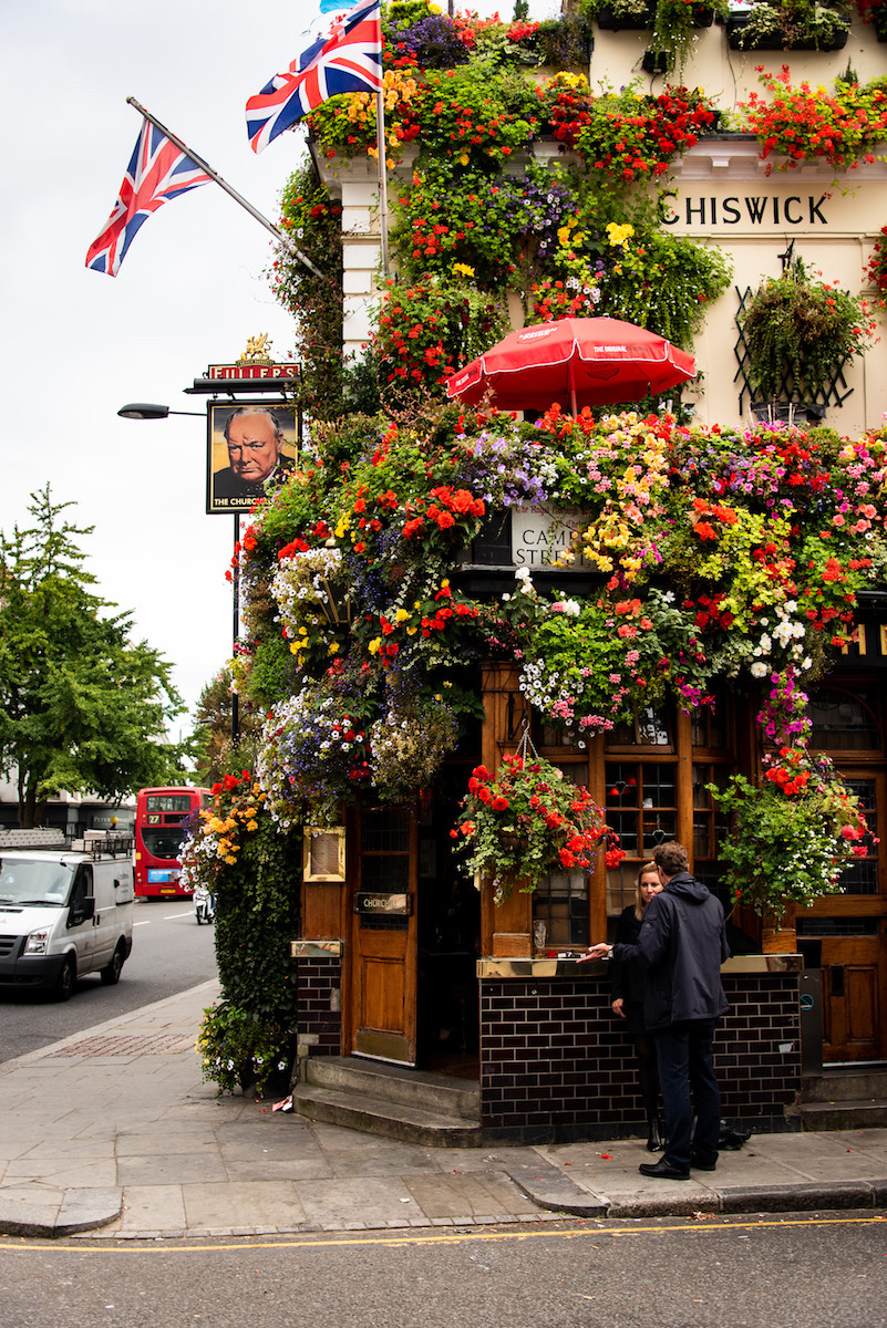 Churchill Arms covered in flowers