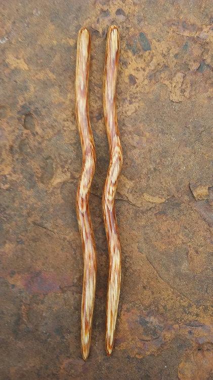 """Ketylo Hairsticks Dymondwood Oak 6"""" Pair"""