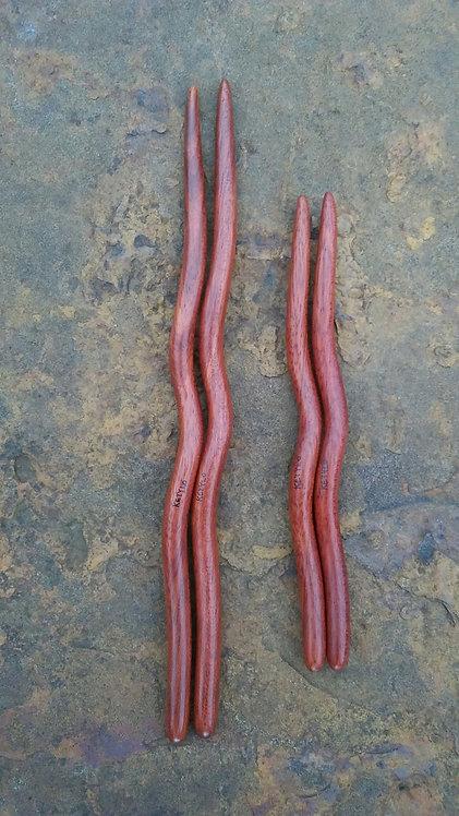 Ketylo Hairsticks Exotic Wood Cardinal Single