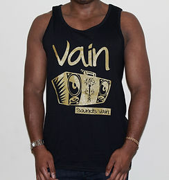 Gents Black Vain Vest with Matte Gold Logo