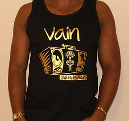Gents Black Vain Vest with Metallic Gold Logo