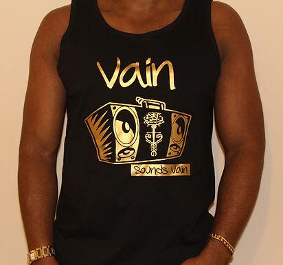 Gents Black Vain Vest with Metallic Gold Logo