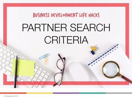 BD Life Hacks: Partner Search Criteria