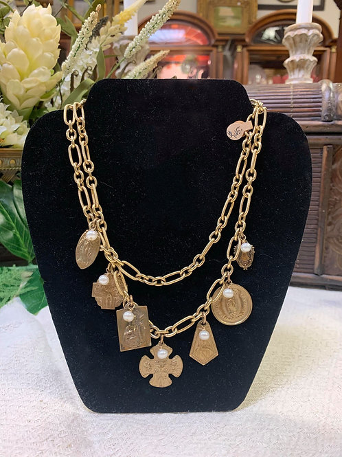 Gold two chain necklace with Pearl and Gold Charms