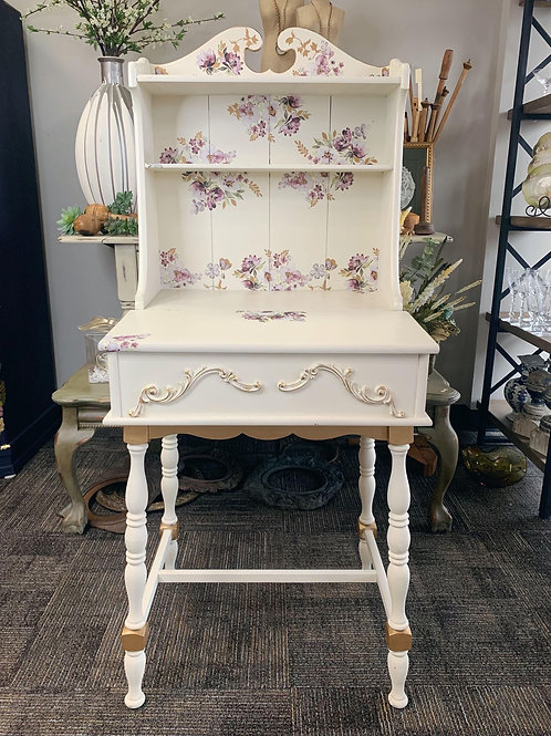 White Desk with Flowers and Attached Bookshelf