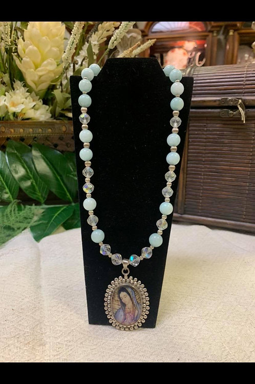 Beaded Necklace with Lady on a Pendant