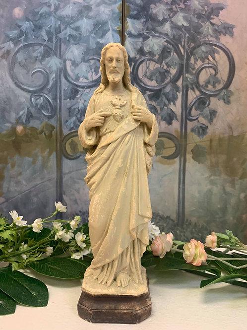 RR18- Antique Christ Statue w/ Sacred Heart