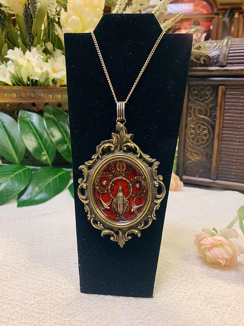 Gold Necklace with large gold/red Virgin Pendant