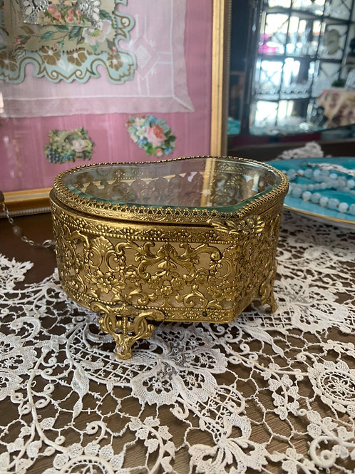 Hollywood Regency Heart Jewelry Box with Gold Velvet
