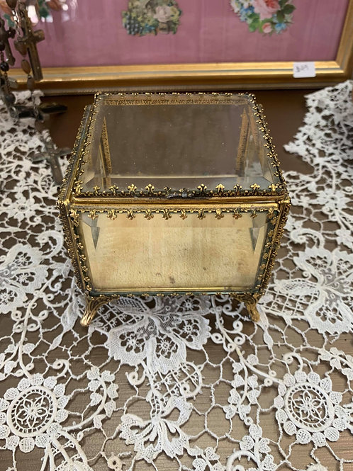 Hollywood Regency Small Square Jewelry Box with Beige Velvet