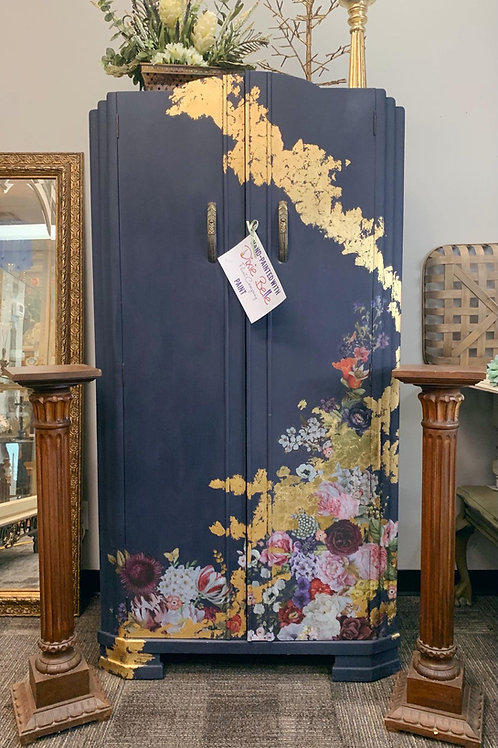 Navy Wardrobe with Gold Accent and Floral Transfer