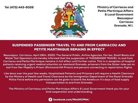 Suspended Passenger travel to and from Carriacou and Petite Martinique remains in effect