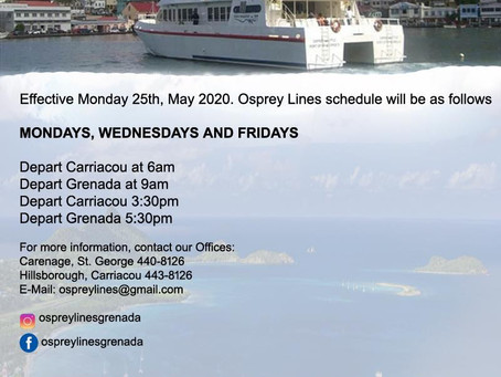 OSPREY LINES LIMITED - Operating schedule from Monday May 25th 2020 until...…..