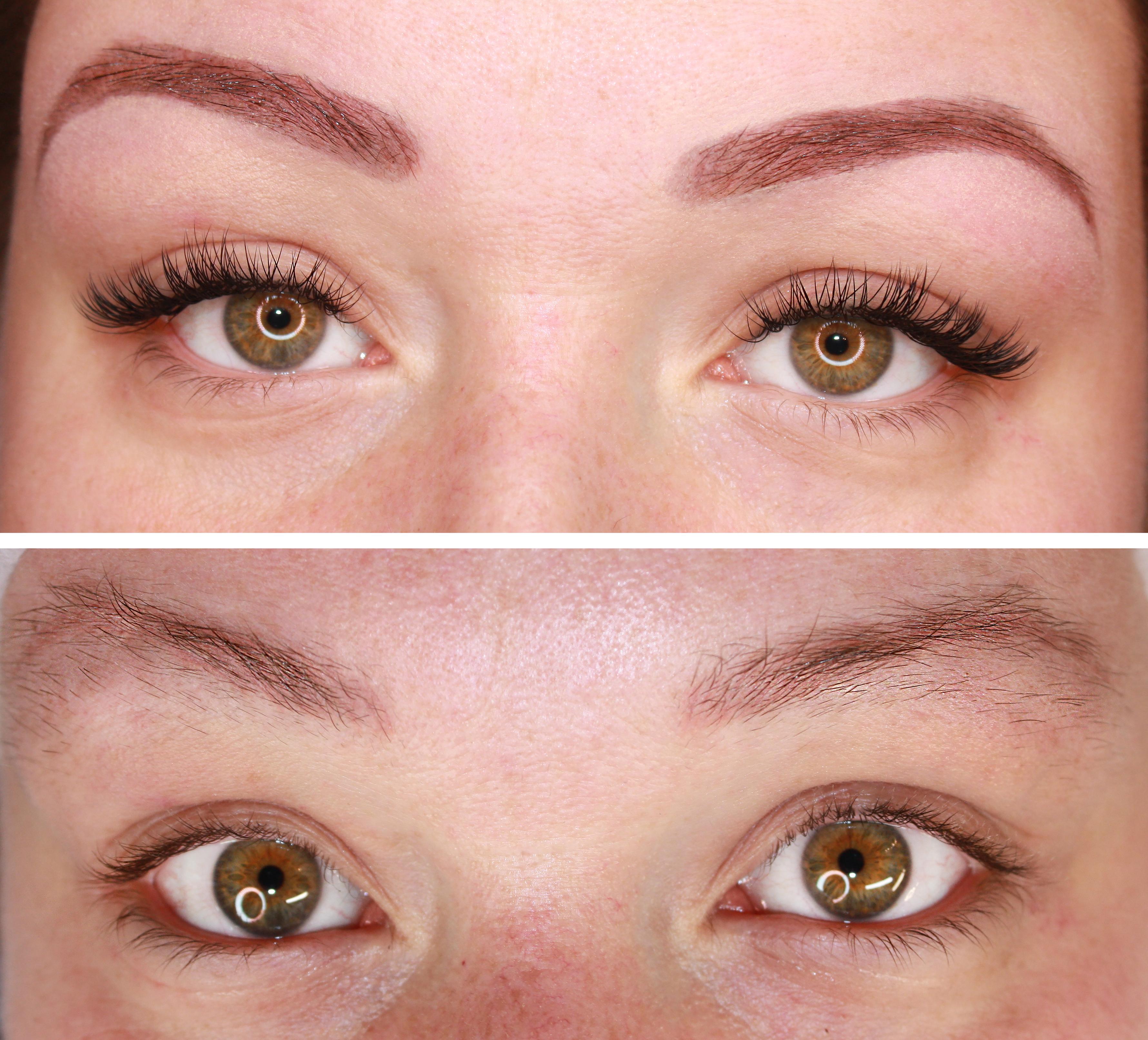 Augenbrauenkorrektur und Wimpern