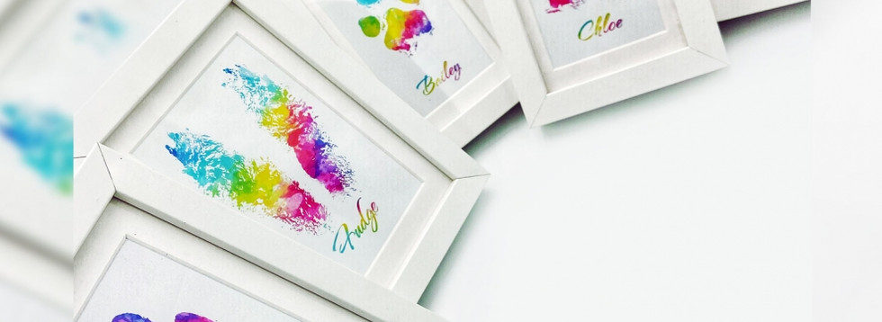 Rainbow Colour Personalised Paw Prints 2