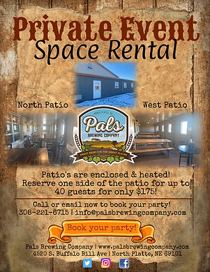 pals brewing company, pals, craft beer, private event, space rental, book a party, private party, event, north platte, nebraska, ne
