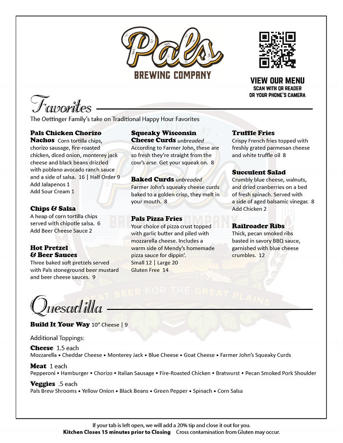 Pals Brewing Company, Craft Beer, Pals, Menu, Cheese Curds, Pizza, Nachos, Mendys Pizza Sauce, North Platte, Nebraska, NE