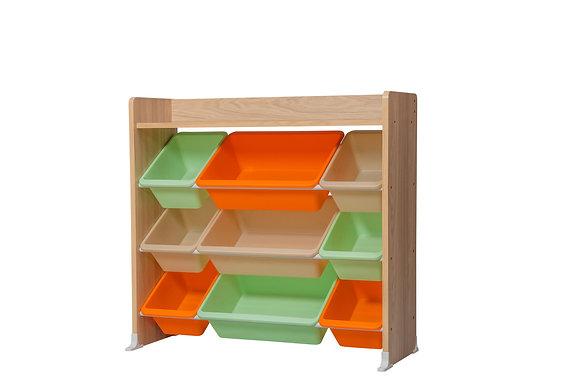 Meuble rangement jouets pour Enfants avec  étagère et 9 boîtes amovibles
