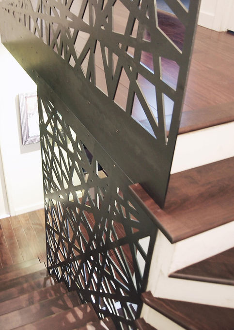 Garde-corps, acier, feuille acier, pliage, découpe, laser. motif, fabrication, beau, deisgn. angle, brut, escalier, bois, blanc