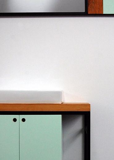 vieux bois, porcelaine, cadre, acier, miroir, turquoise, noir, lavabo, évier, détail, design