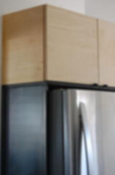 contreplaqué, merisier, acier brut, stainless steel, caisson, meuble, mobilier intégré, réfrigérateur