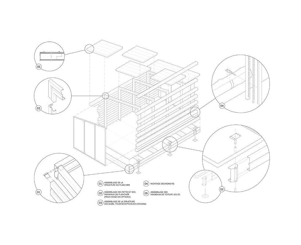 micro chalet, bois rond, préfabrication, DIY, construction, système, low tech, bois, forêt, outils, dessin autocad, schéma, architecture