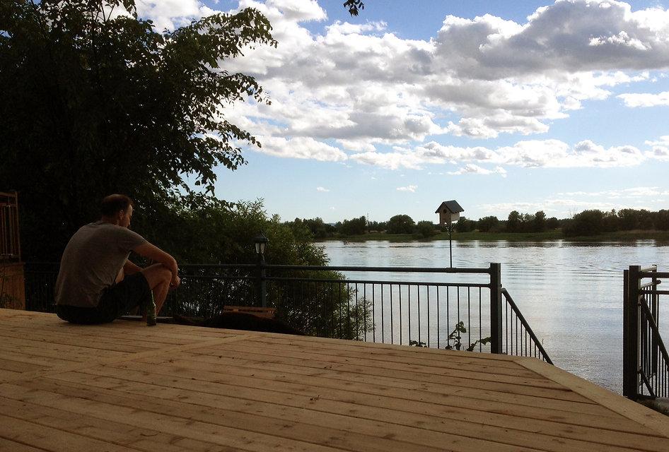 balcon, vue, fleuve, boucherville, cèdre, été, terrasse, vieux boucherville