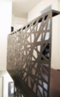 Garde-corps, acier, feuille acier, pliage, découpe, laser. motif, fabrication, beau, deisgn. angle, brut, escalier