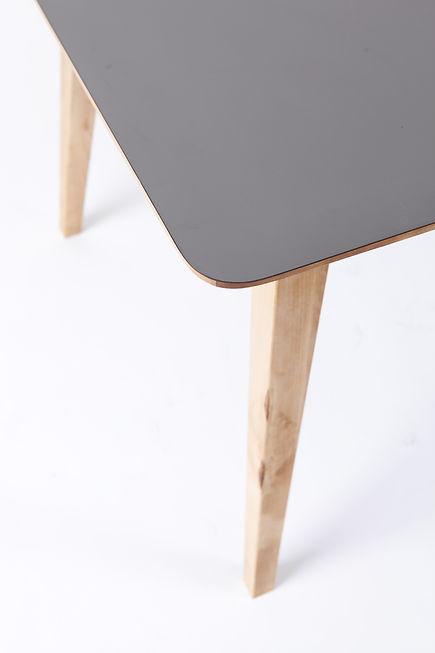 table, bois, stratifié, gris, danois, design, détail