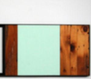 miroir, vieux bois, bleu turquoise, laque, acier, noir, salle de bain