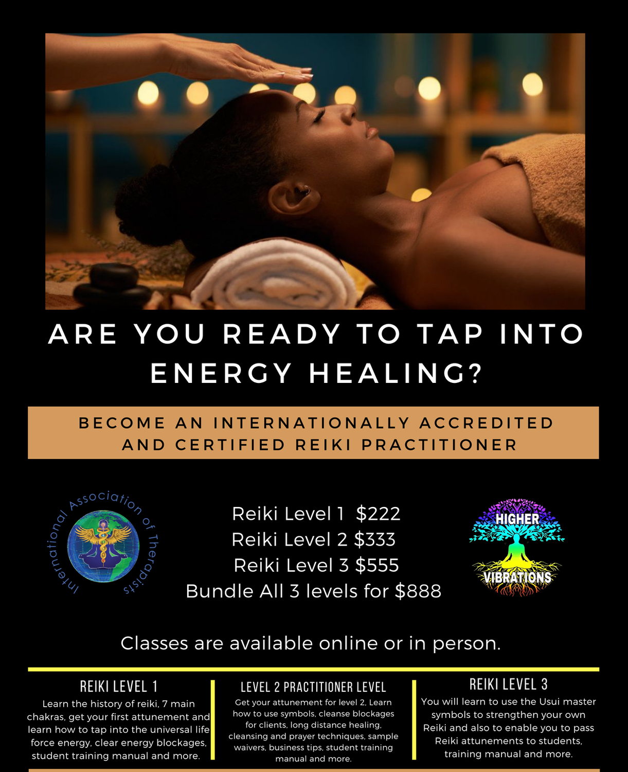 Reiki Levels 1, 2 and 3