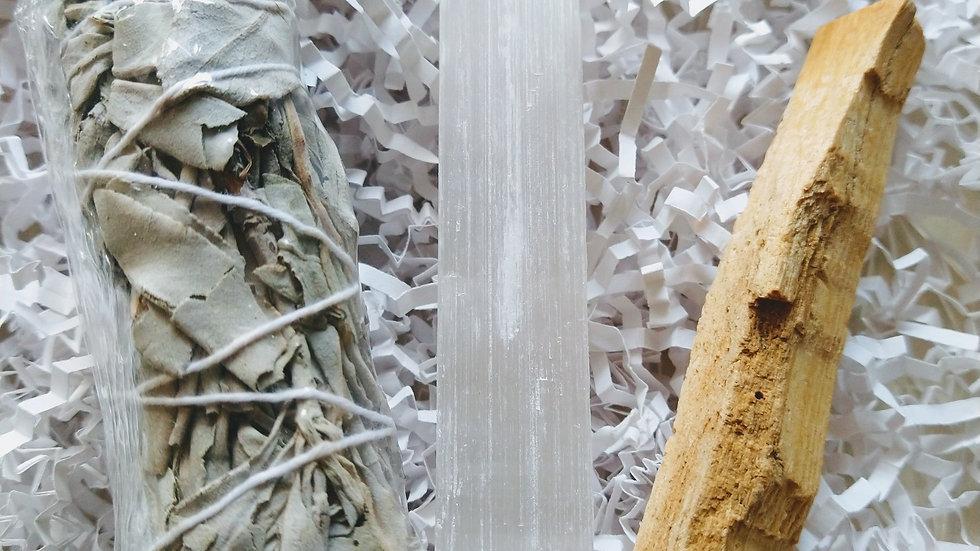 Cleansing bundle  White Sage Stick + Selenite Stick + Palo Santo Stick
