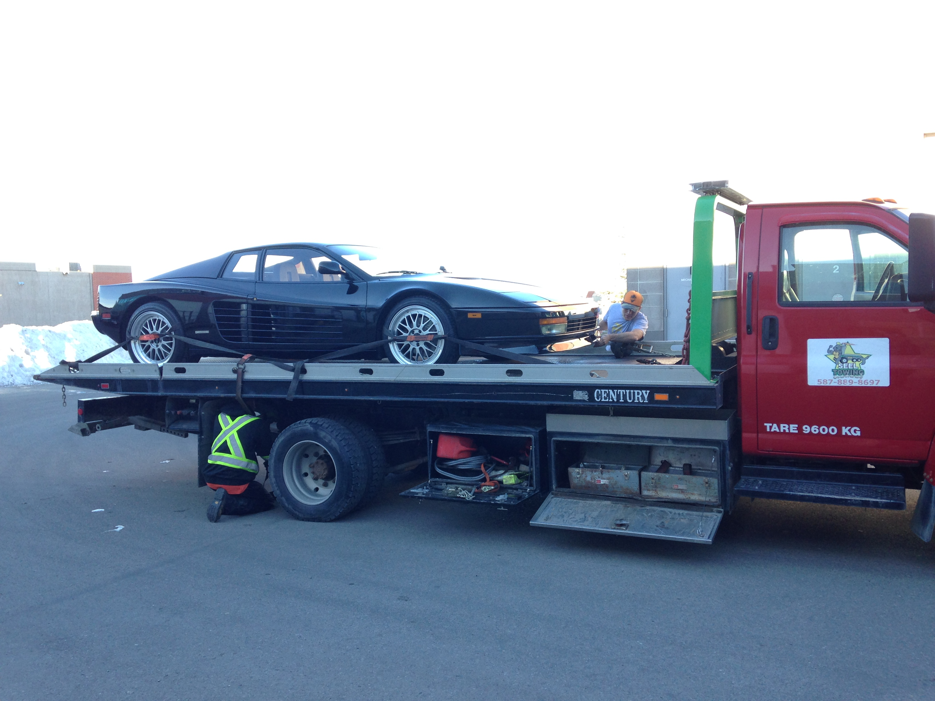 Sports Car Towing Ferrari Testarossa