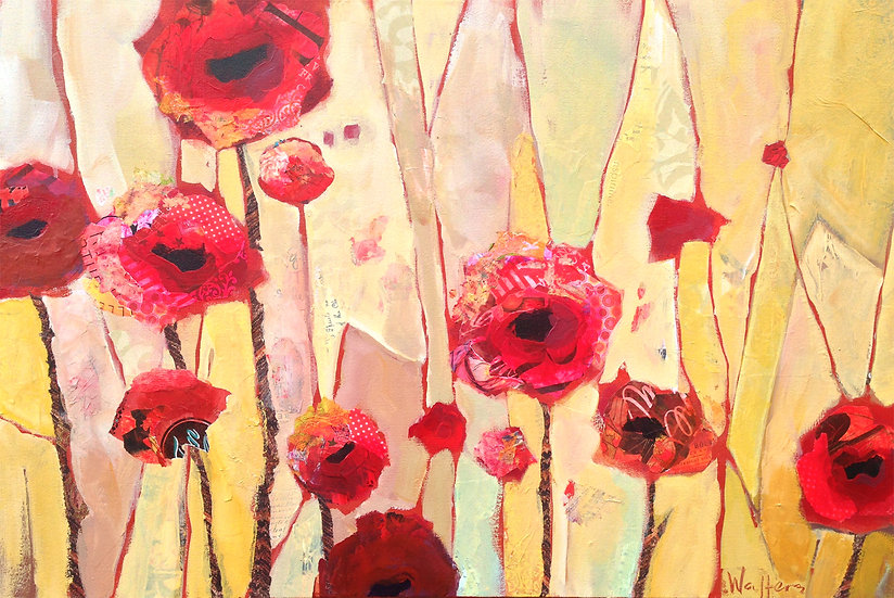 red poppies on canvas