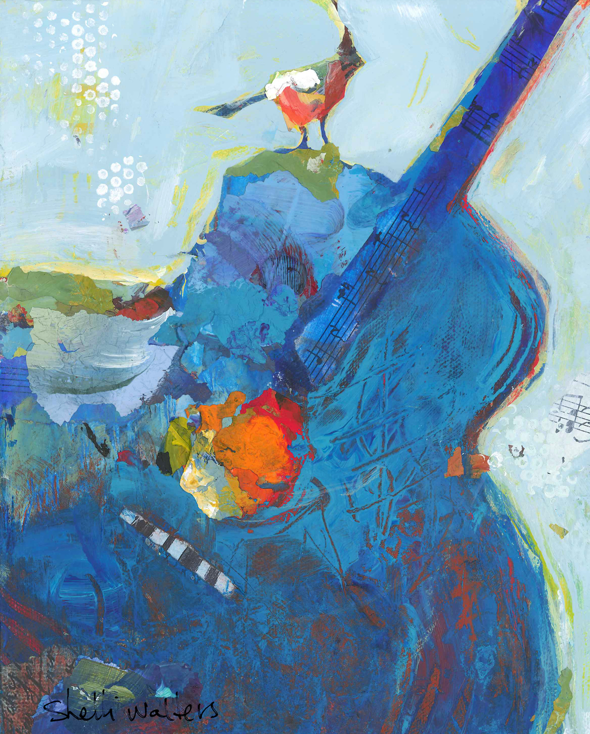 Blue Guitar With Bird