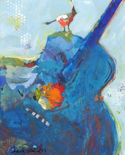 Blue Guitar With Bird