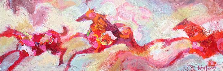 horses running modern fine art painting