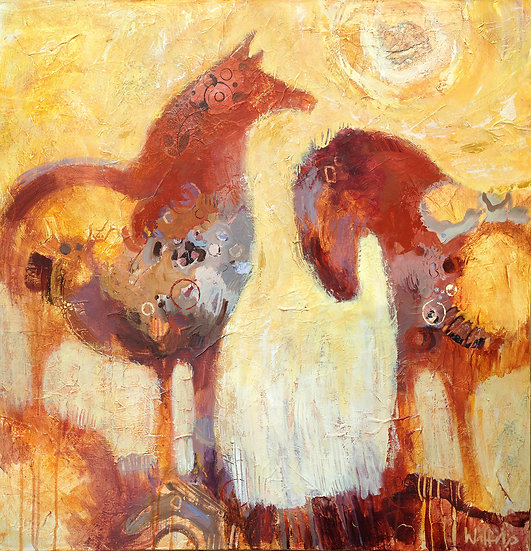 two horses mixed media painting