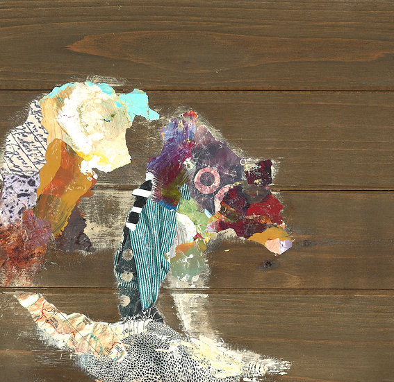 Bear Collage Art on Wood