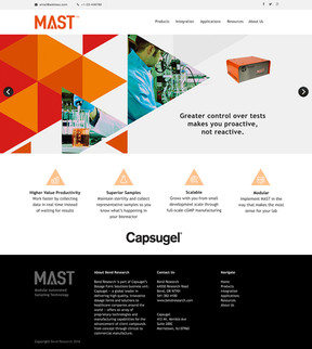 I designed the logo and website for Capsugel's new product launch, MAST. The MAST helps direct scientists in their research so the triangle was adopted as a graphic vehicle throughout tosuggest direction and moving forward.