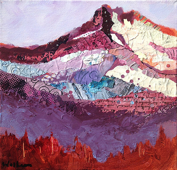 rugged snow capped mountain painting