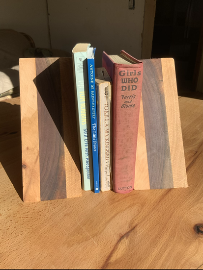 Beech and Walnut Bookends