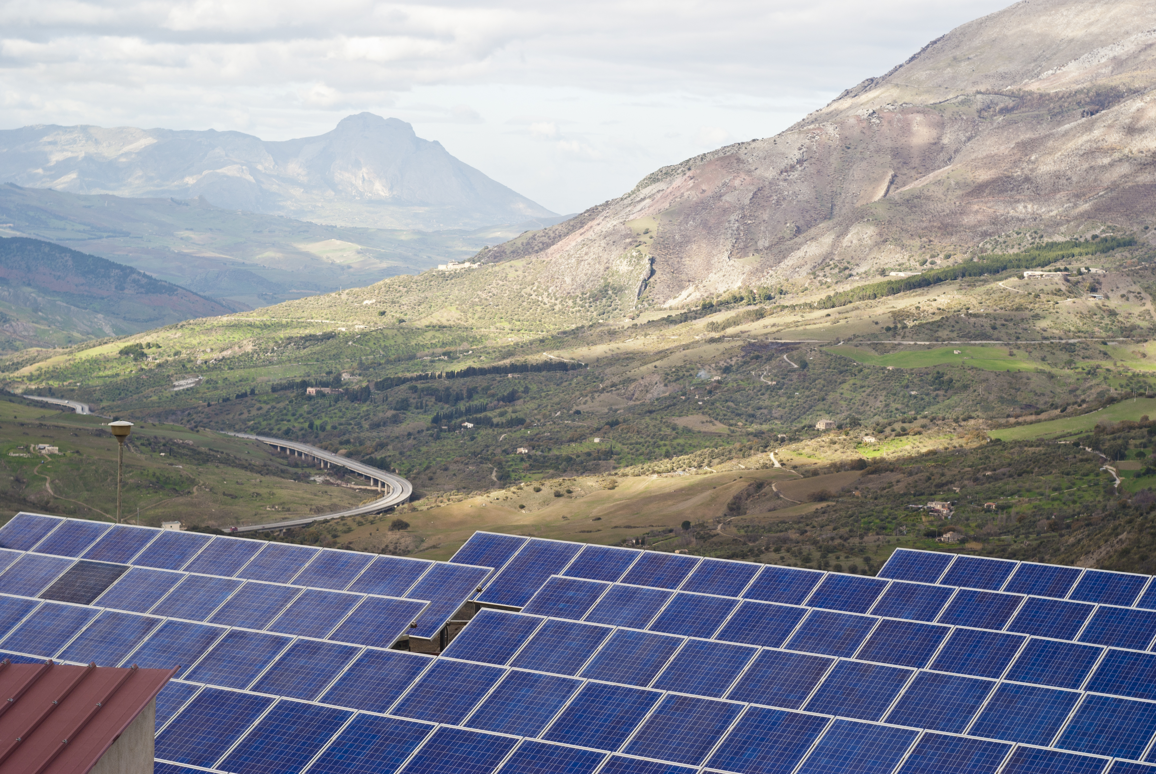 Solar Panels in Sicily Mountains
