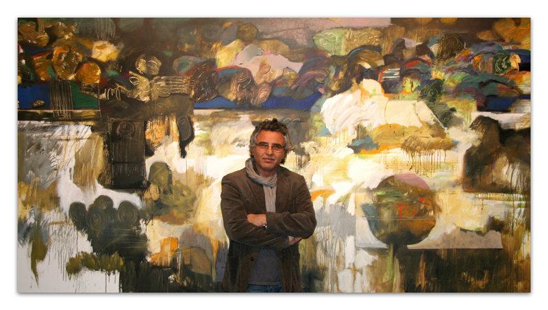 "Hessam Abrishami in front ""Society"" A masterpiece arwork"