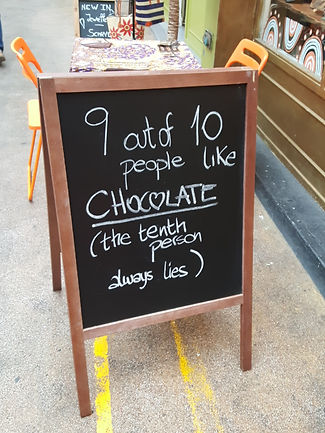 Signpost outside a chocolate shop in London