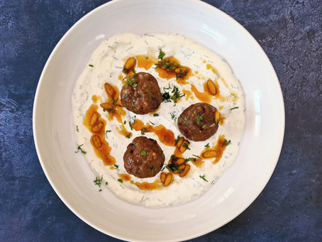 Greek Meatballs with Dill Yoghurt & Chilli-Pine Nut Butter