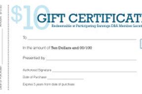 $10 DBA Gift Certificate